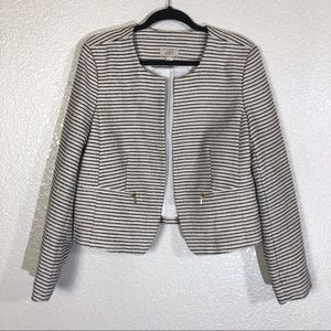 Loft Tweed Open Front Stripe Blazer Size Large
